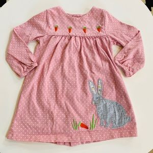 Baby Boden polka dots pink rabbit dress (12-18m)